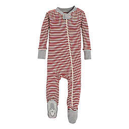 Burt's Bees Baby® Candy Cane Stripe Holiday Footed Pajama in Red