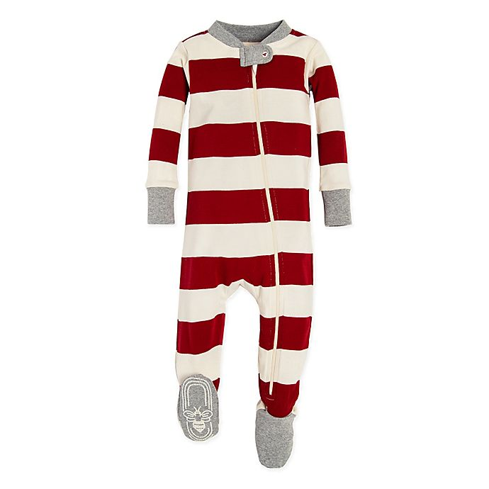 Alternate image 1 for Burt's Bees Baby® Rugby Stripe Holiday Footed Pajama in Red/Ivory