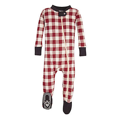 Burt's Bees Baby® Buffalo Check Holiday Footed Pajama in Red/Ivory