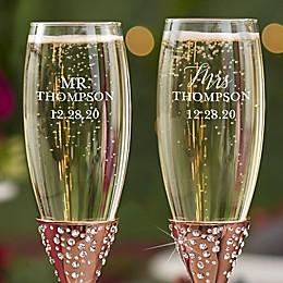 Radiant Rose Gold Etched Wedding Champagne Flute Set of 2
