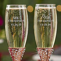 Radiant Wedding Champagne Flute in Rose Gold (Set of 2)