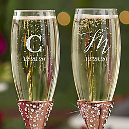 Sparkling Intial Champagne Flute in Rose Gold (Set of 2)