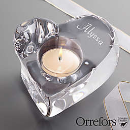 Orrefors© Crystal Heart Votive with Engraved Name