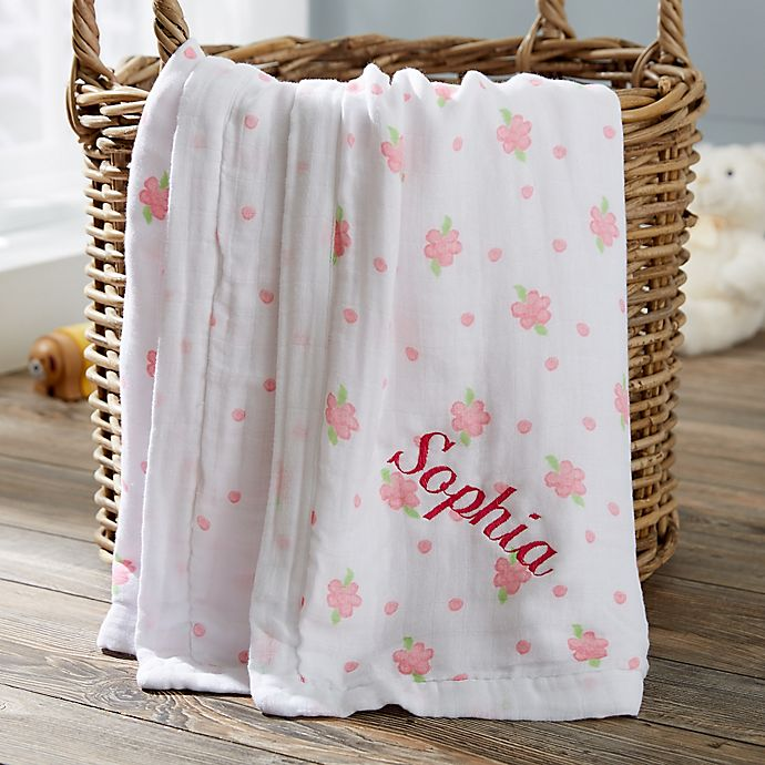 Floral Embroidered Muslin Baby Blanket | Bed Bath & Beyond