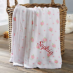 Floral Embroidered Muslin Baby Blanket