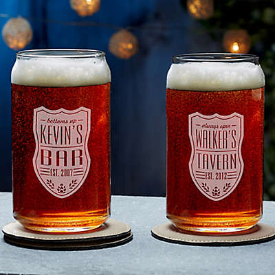 Beer Label Engraved Beer Can Glass