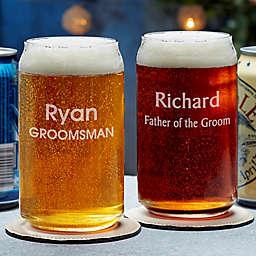 Groomsmen Engraved Beer Can Glass