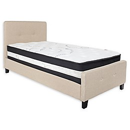 Flash Furniture Tribeca Twin Upholstered Platform Bed with Mattress