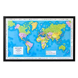 Map Marketing World Traveler Map 41-Inch x 25-Inch Wood Wall Art