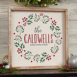 Christmas Wreath Whitewashed Frame Wall Art