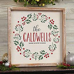 Christmas Wreath Whitewashed Frame Wall Art
