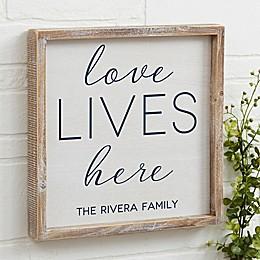 Love Lives Here Barnwood Frame Wall Art