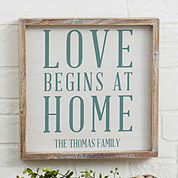 Love Begins at Home Barnwood Frame Wall Art