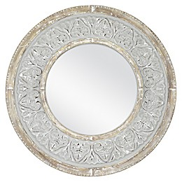 Bee & Willow™ Home Distressed 26-Inch Round Wall Mirror in Rustic Brown