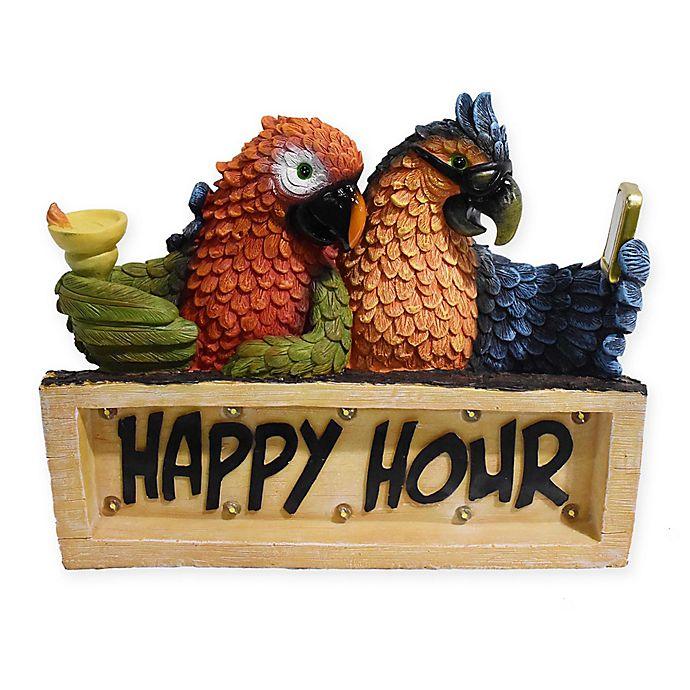 Alternate image 1 for Happy Hour Parrots LED Solar Powered Plaque