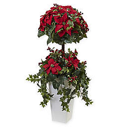 Nearly Natural 4-Foot Poinsettia Berry Topiary with Decorative Planter