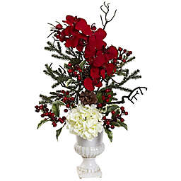 Nearly Natural Holiday Elegant Artificial Floral Arrangement Centerpiece