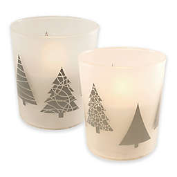 Battery Operated Wax Candles Filled in Silver Tree Glass with Timer (Set of 2)