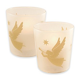 Battery Operated Wax Candles Filled in Gold Angel Glass with Timer (Set of 2)