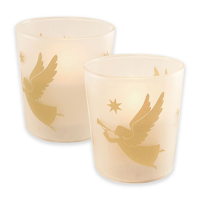 Alternate image 1 for Battery Operated Wax Candles Filled in Gold Angel Glass with Timer (Set of 2)