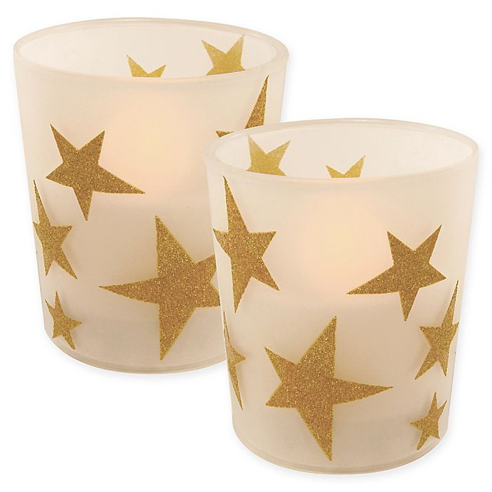 Alternate image 1 for Battery Operated Wax Candles Filled in Gold Star Glass with Timer (Set of 2)