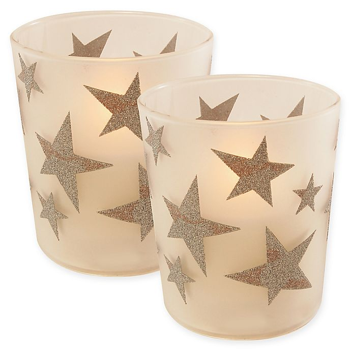 Alternate image 1 for Battery Operated Wax Candles Filled in Silver Star Glass with Timer (Set of 2)