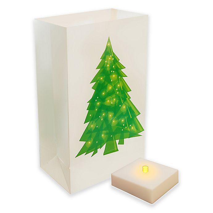 Alternate image 1 for Holiday Tree LED Luminaria Kit with Timer (Set of 6)