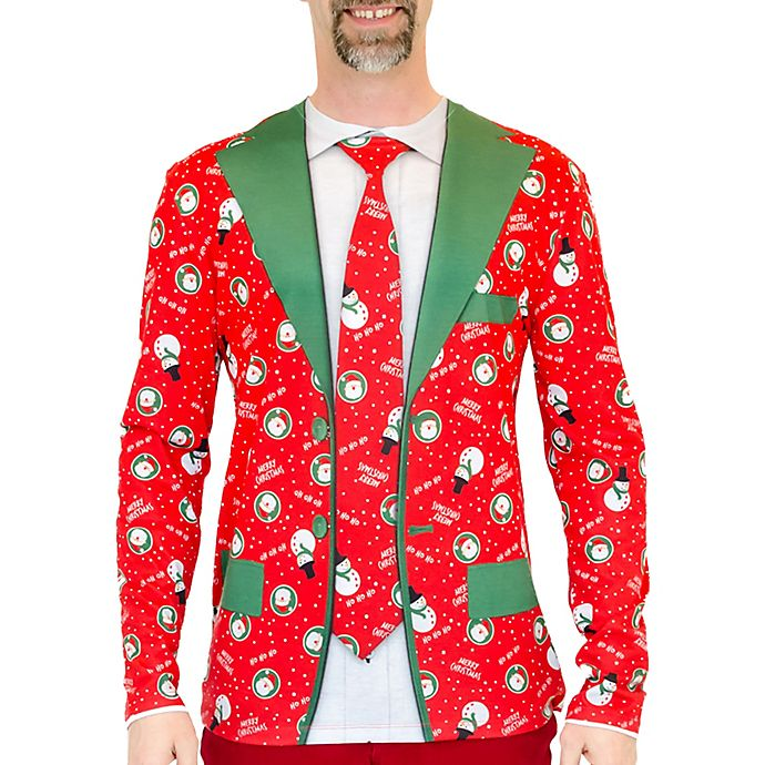 Alternate image 1 for Faux Real Small Christmas Suit & Tie Long Sleeve Tee in Red
