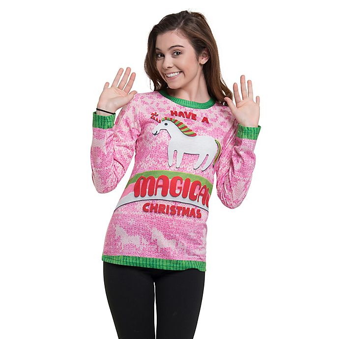 Alternate image 1 for Faux Real XXL Magical Christmas Tee in Pink