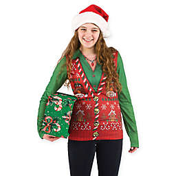 Faux Real Ladies Ugly Christmas Sweater Vest