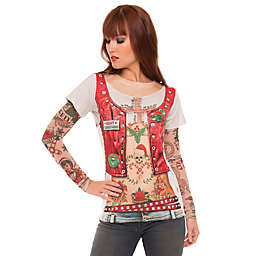 Faux Real Ugly Christmas Biker T-Shirt with Tattoo Sleeves