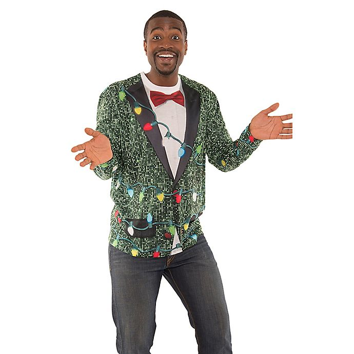Alternate image 1 for Faux Real Sequin Suit with Lights T-Shirt