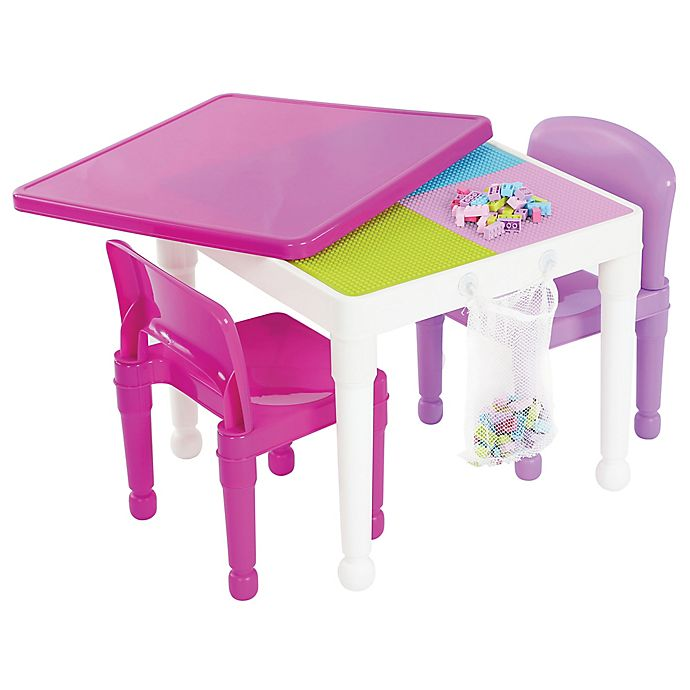 Alternate image 1 for Tot Tutors 2-in-1 LEGO®-Compatible Construction Table with 2 Chairs in White/Purple/Pink