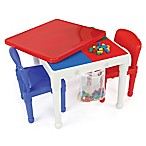 Tot Tutors 2-in-1 LEGO®-Compatible Construction Table with 2 Chairs in White/Red/Blue