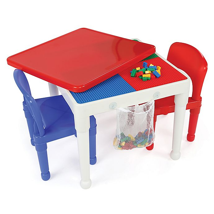 Alternate image 1 for Tot Tutors 2-in-1 LEGO®-Compatible Construction Table with 2 Chairs in White/Red/Blue