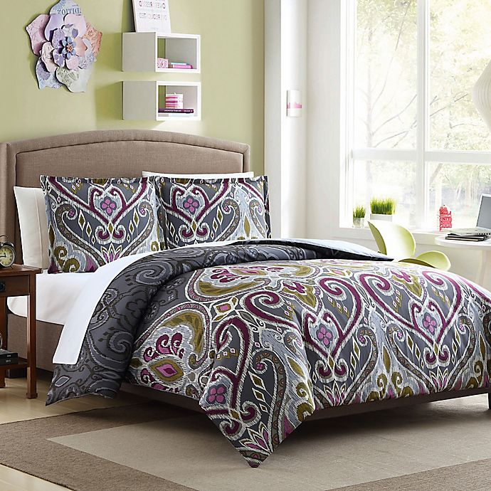buy nomad reversible twin twin xl duvet cover set in grey from bed bath beyond. Black Bedroom Furniture Sets. Home Design Ideas