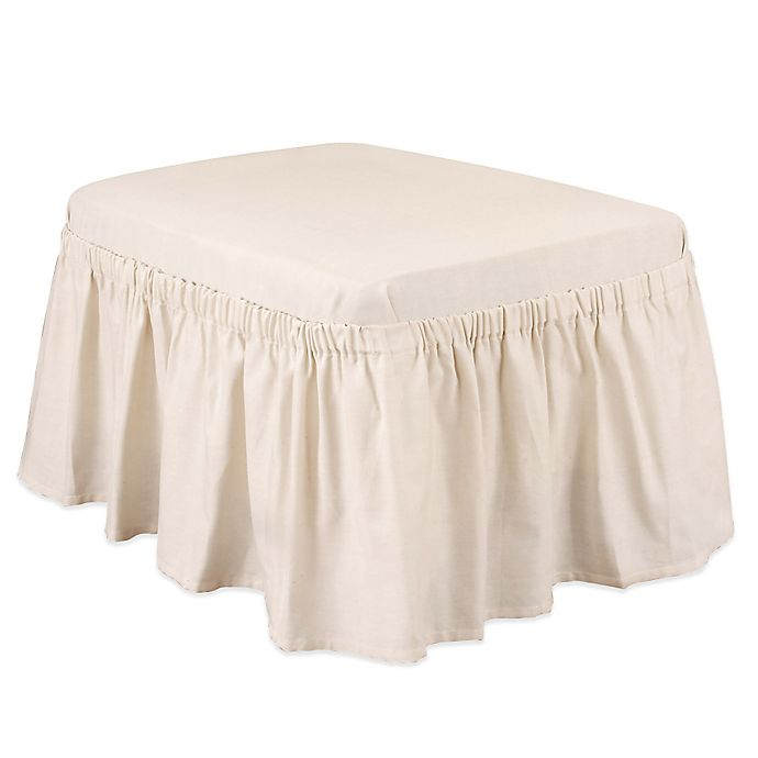 Cotton Duck Natural Ottoman Slipcover Bed Bath Amp Beyond