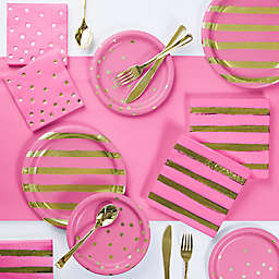 Foil Dots, Stripes and Solid 73-Piece Party Supply Kit in Pink/Gold