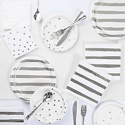 Silver Foil 73-Piece Party Supply Kit in White