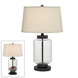 Kathy Ireland® Collectors Drum CFL Bulb Table Lamp in Black with Linen Shade