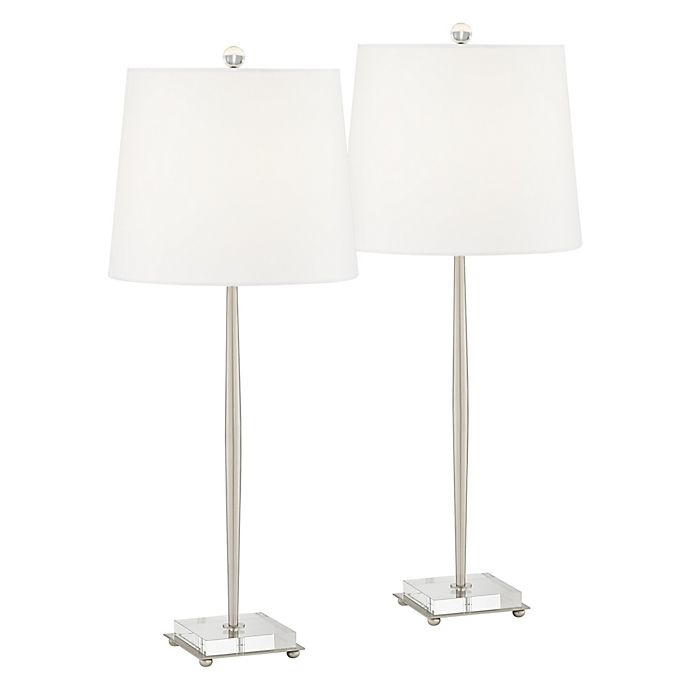 Alternate image 1 for Pacific Coast® Lighting Steve CFL Bulb Table Lamp in Brushed Nickel (Set of 2)