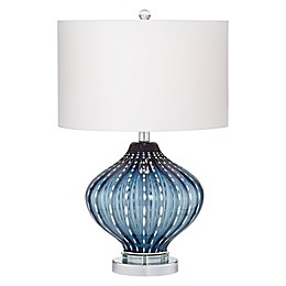Kathy Ireland™ Blue Art Glass Table Lamp With White Dot Rows