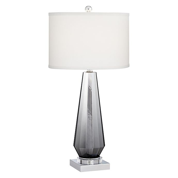 Alternate image 1 for Kathy Ireland Home® Glass Table Lamp in Chrome with Fabric Shade