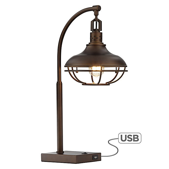 Alternate image 1 for Kathy Ireland® Kie Wired Basket Table Lamp in Oil Rubbed Bronze