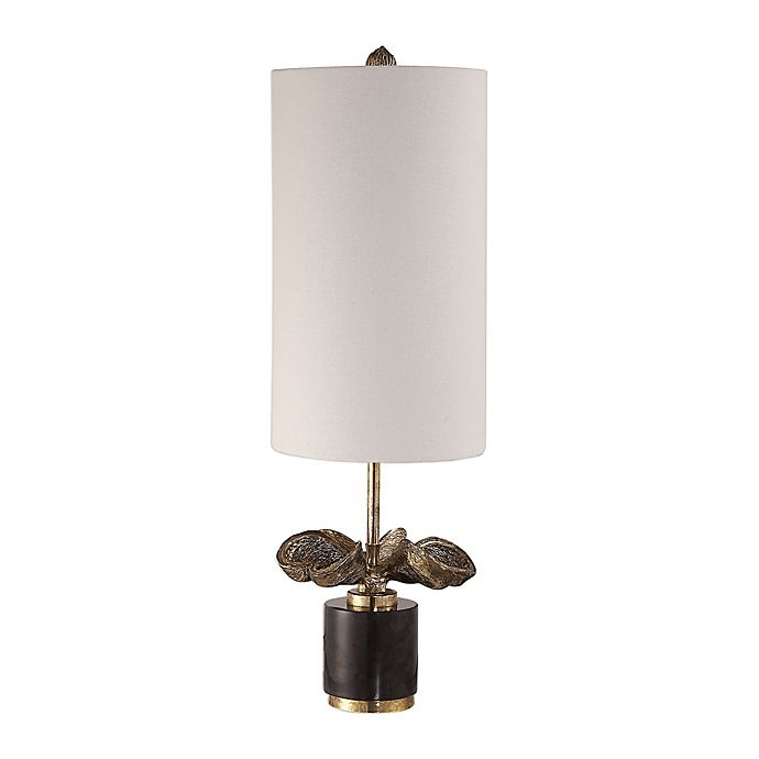 Alternate image 1 for Uttermost Sterculia Table Lamp in Gold/Champagne with Fabric Shade