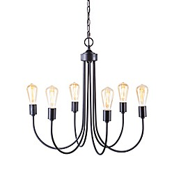 Southern Enterprises Pelion 6-Light Chandelier in Matte Black