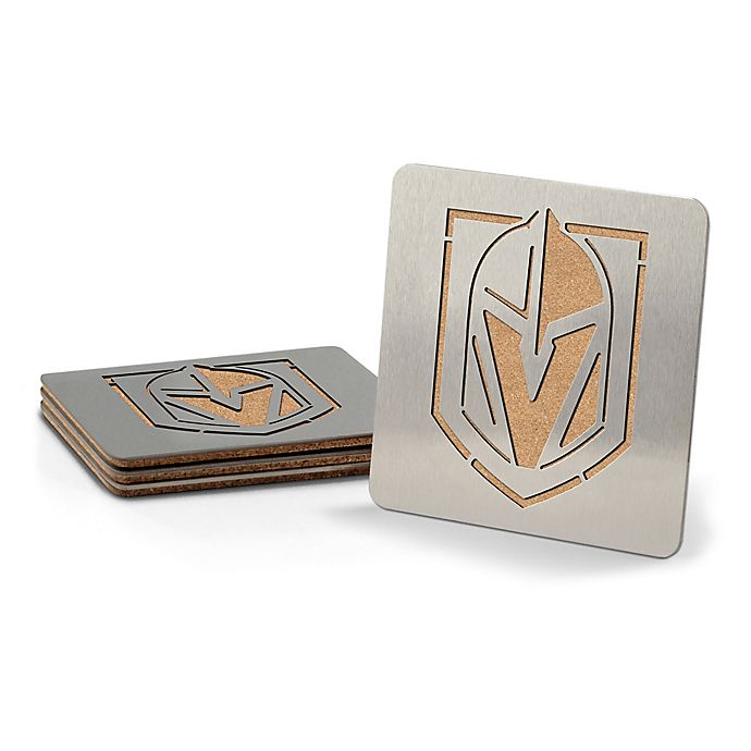Alternate image 1 for NHL® Vegas Golden Knights Stainless Steel 4 piece set Coaster