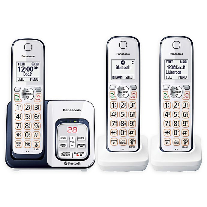 free shipping 1363a bb9e5 Panasonic Link2Cell Bluetooth® Cordless Phone with 3 Handsets and ...