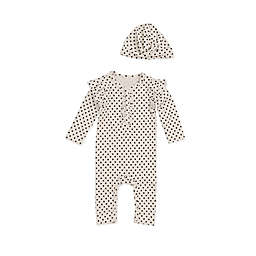 Jessica Simpson 2-Piece Polka Dot Coverall and Cap Set in Ivory