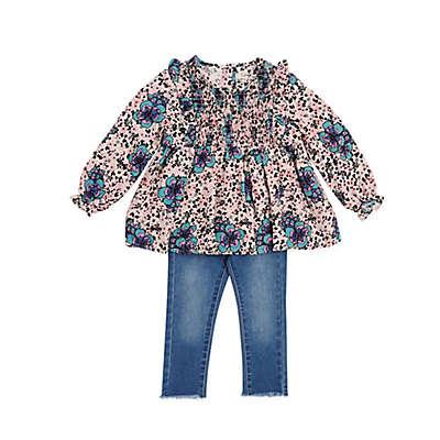 Jessica Simpson 2-Piece Floral Top and Jean Set